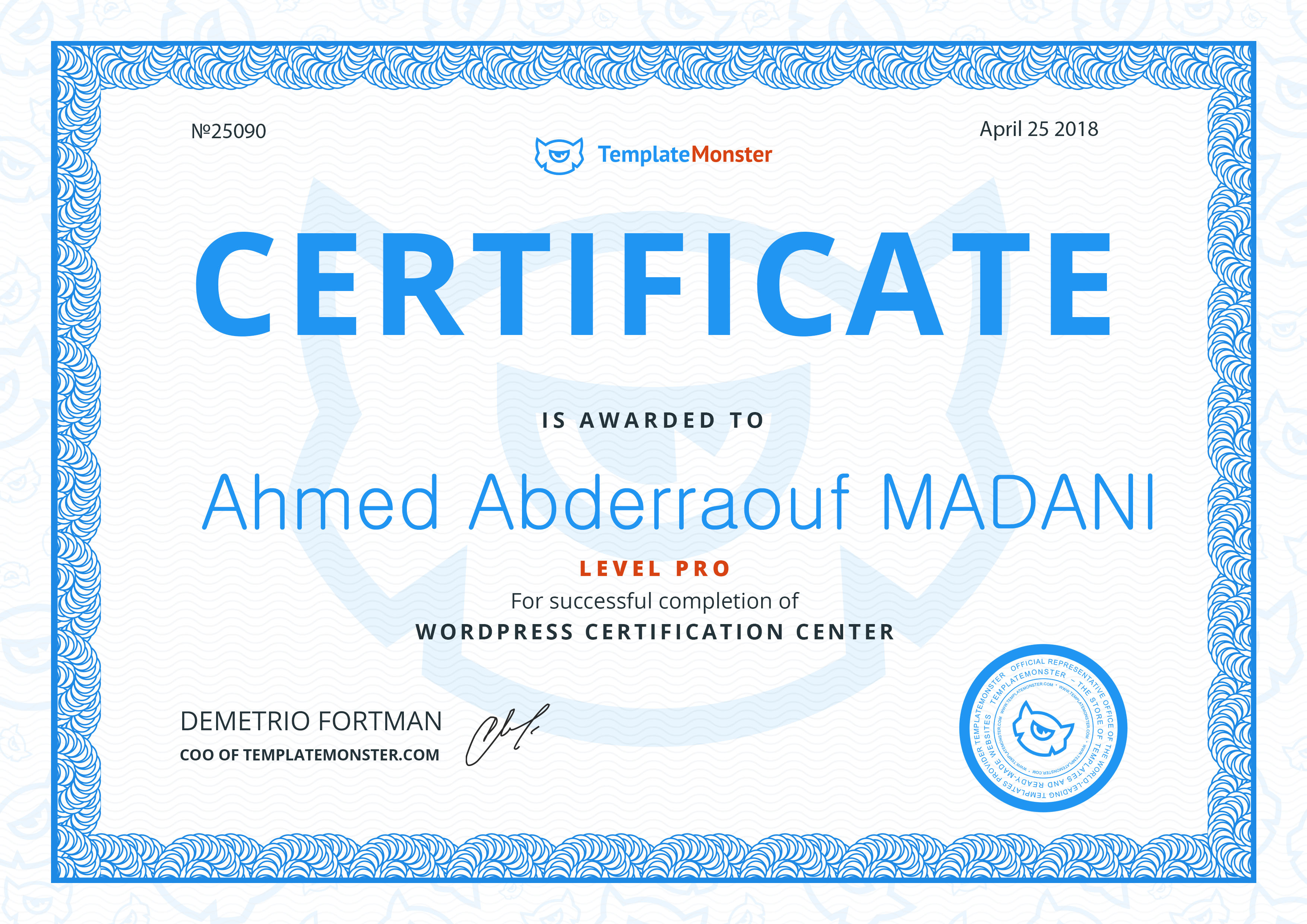 Successful Completion of Wordpress Certification Center LEVEL PRO